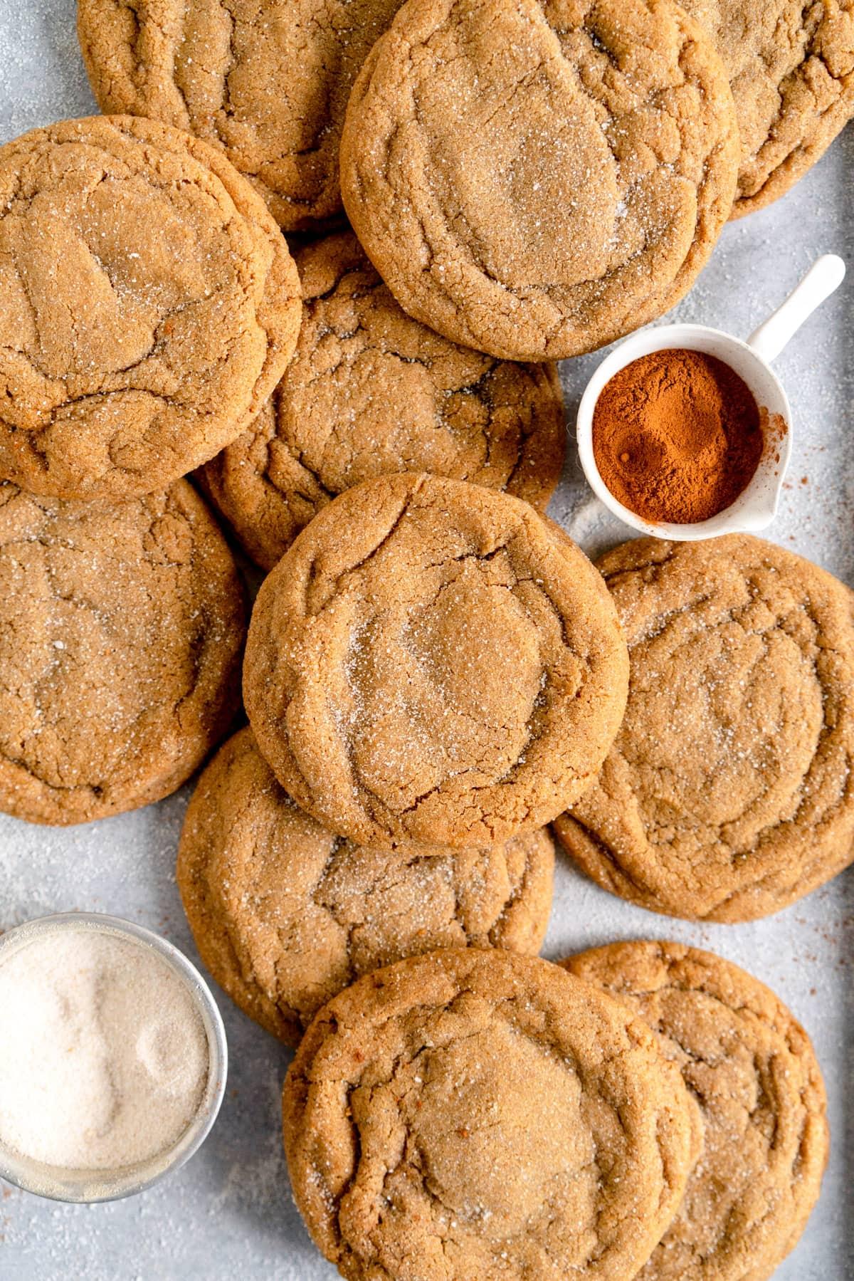 close up shot of ginger cookies on sheet pan