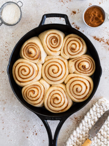 Sourdough cinnamon rolls ready to be baked