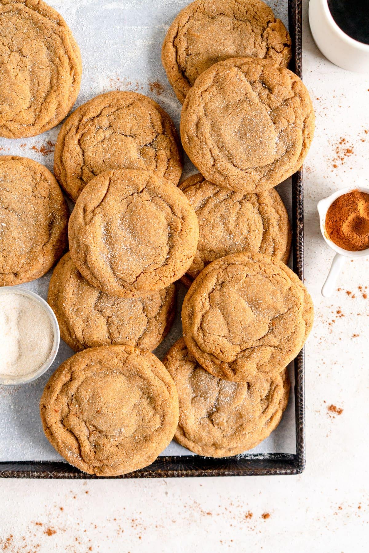 Ginger Molasses sugar cookies on sheet pan