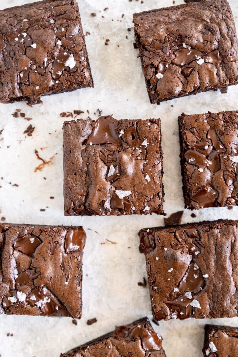 close up shot of dairy free brownie with salt