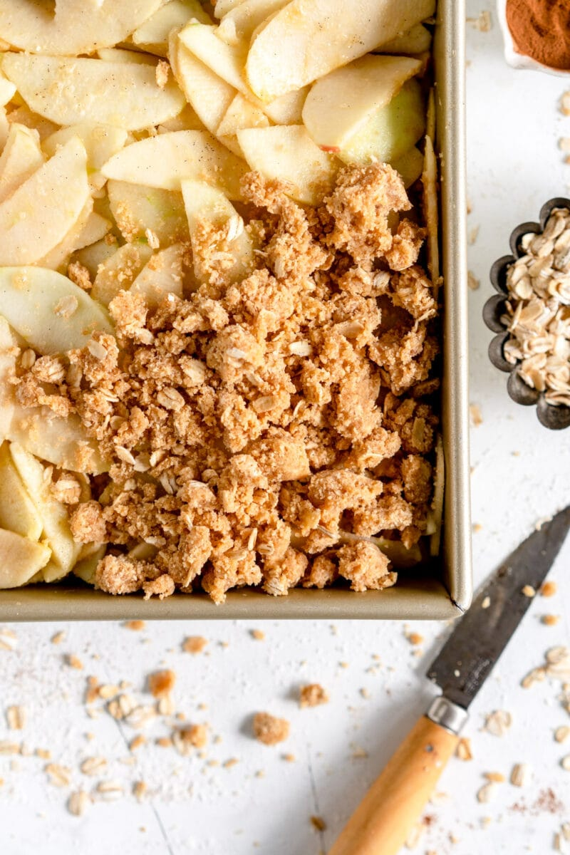 corner shot of apple crumble