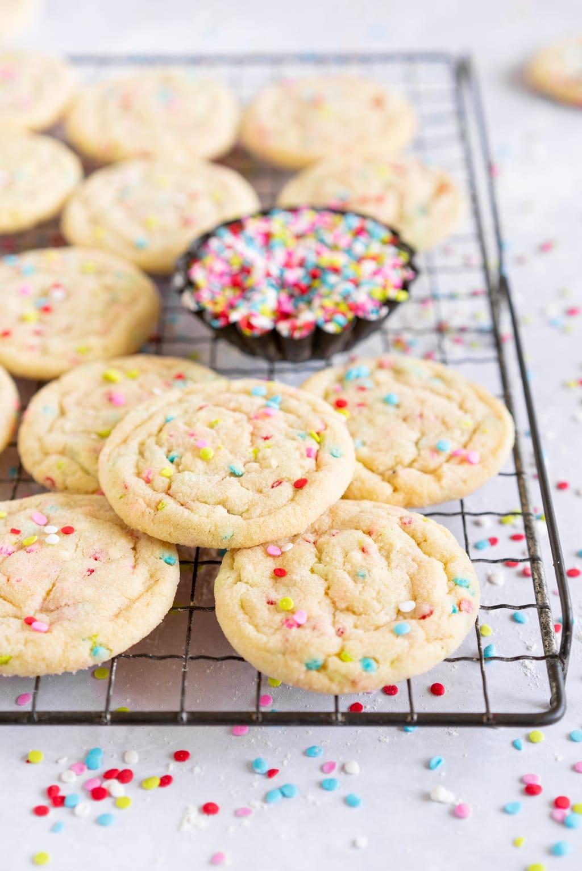 side on shot of funfetti sugar cookies