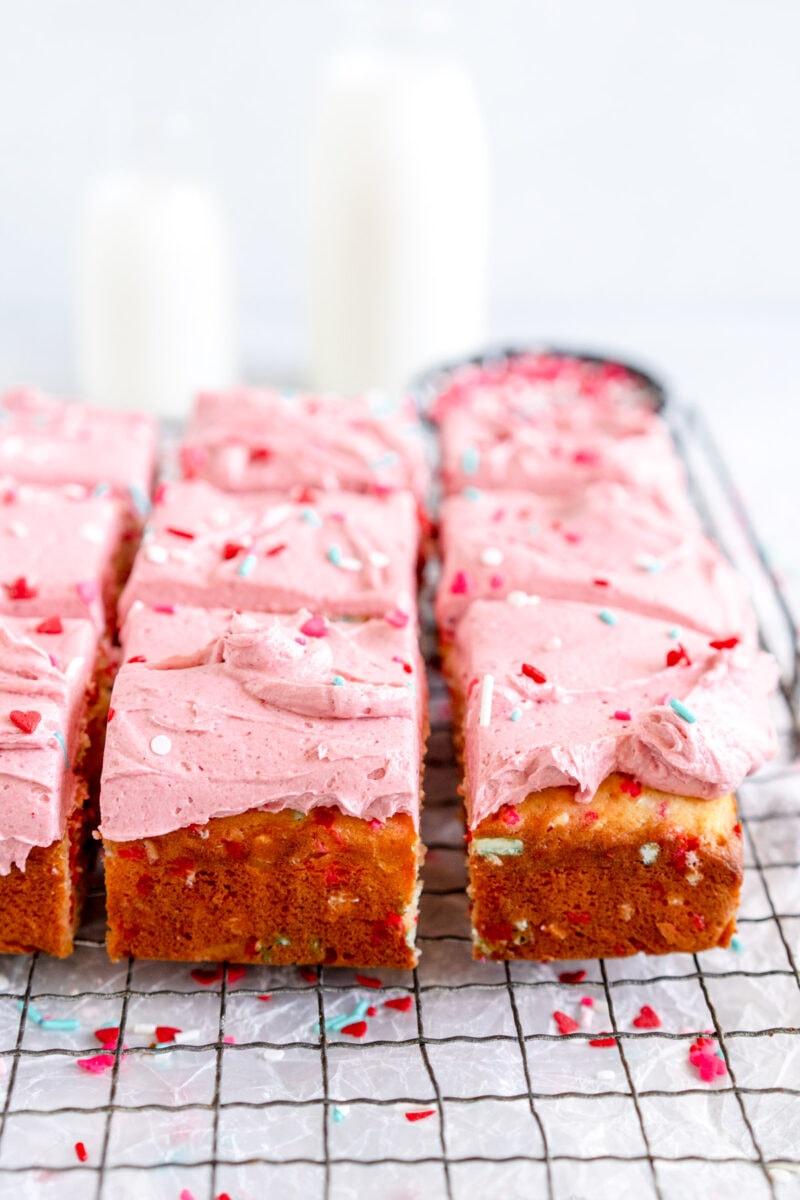 side on cut shot of funfetti snack cake