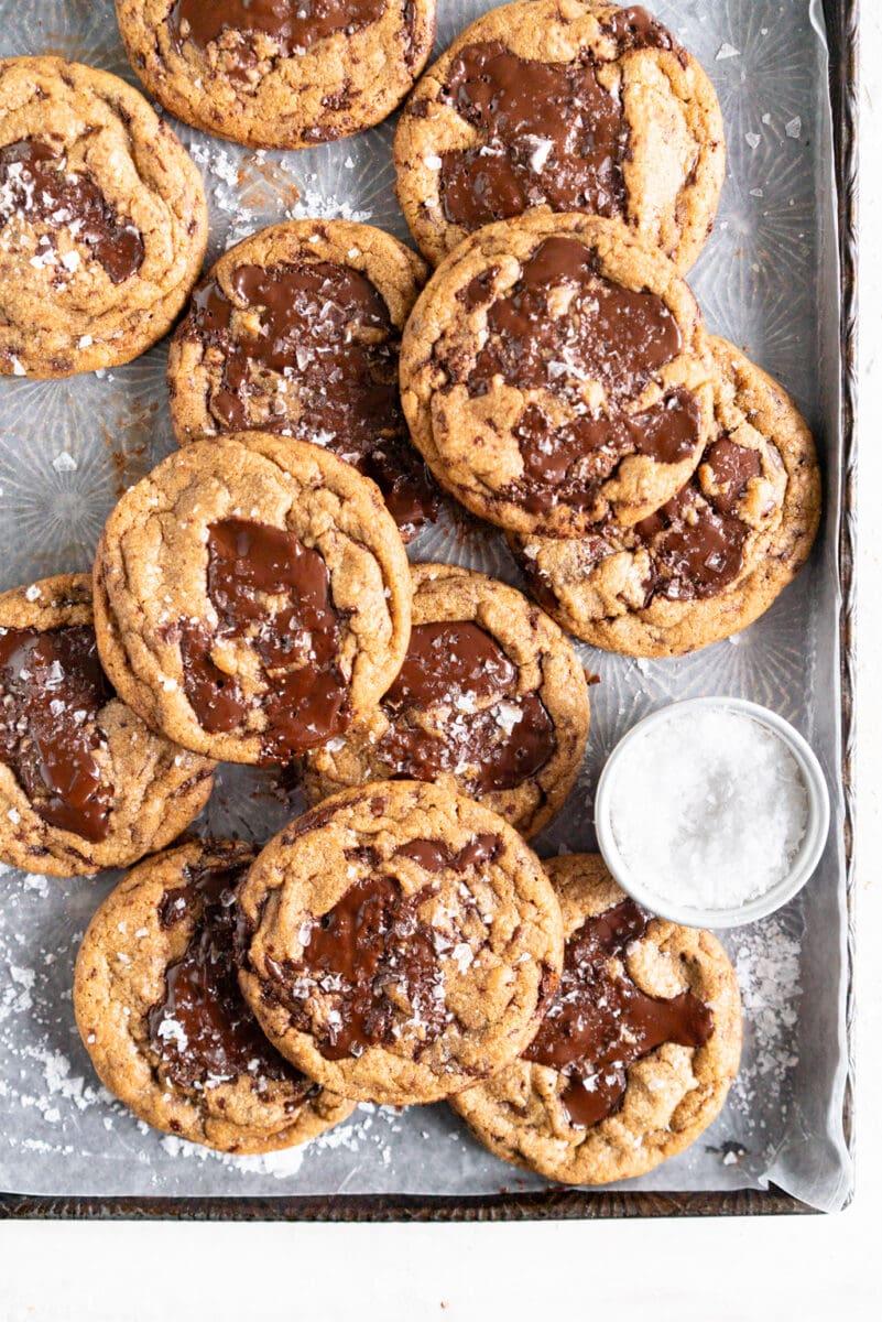 Stack of cookies on sheet pan
