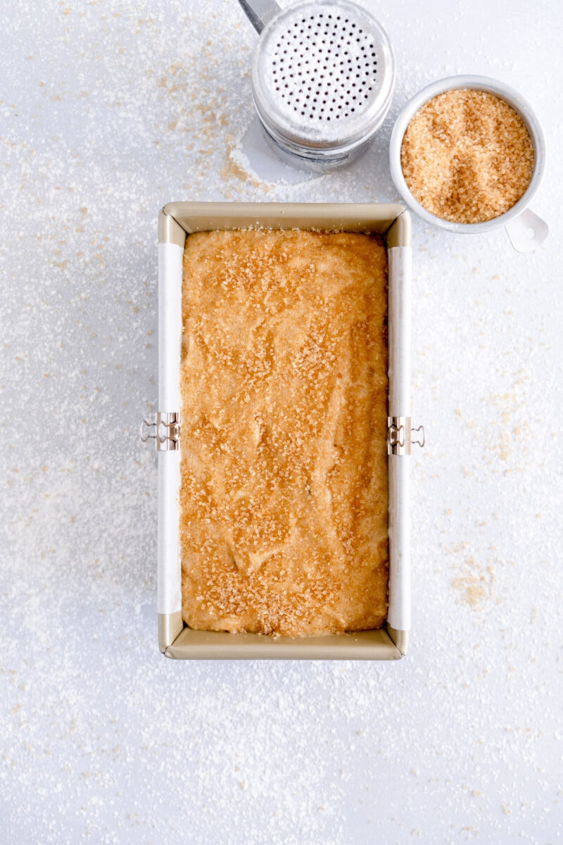 banana bread batter with sugar on top