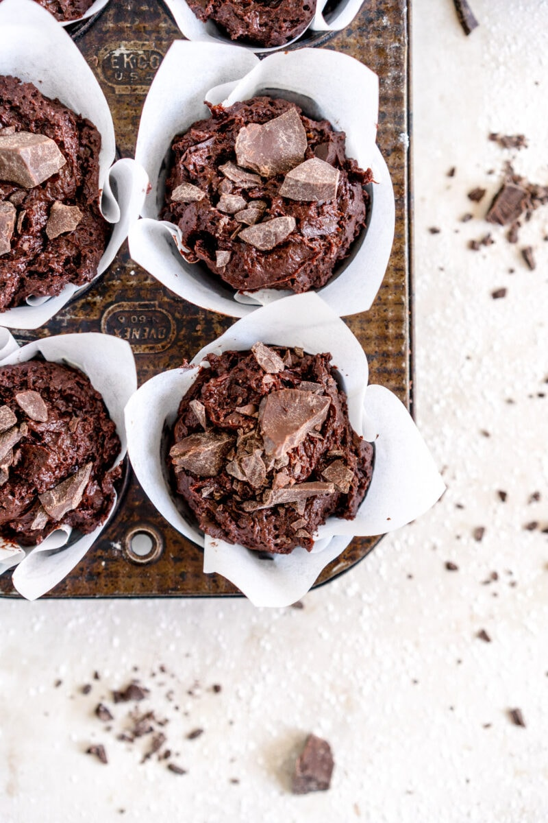 Top down shot chocolate muffins
