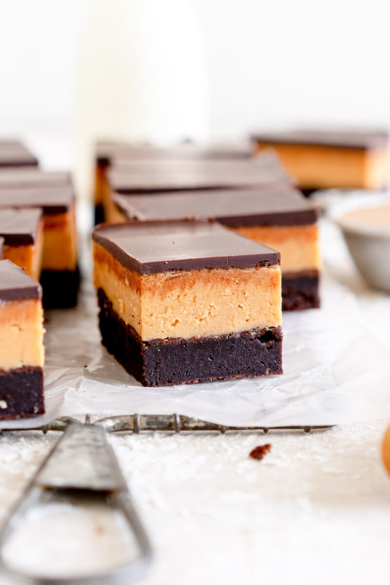 Close up shot of peanut butter brownie bars