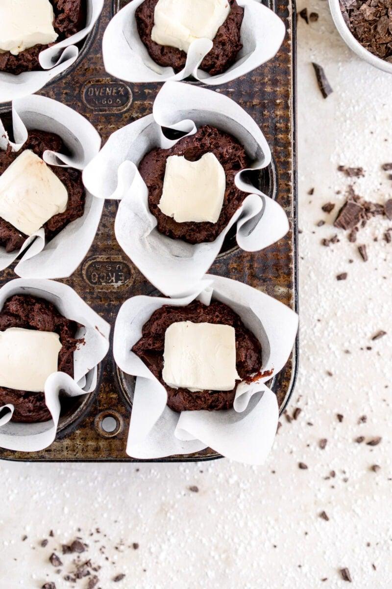 cream cheese inside chocolate muffin