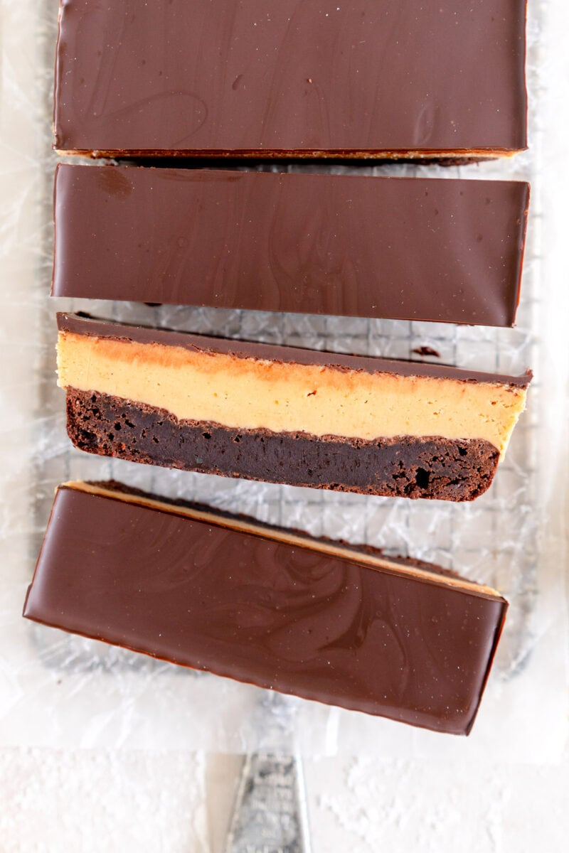 top down shot of slice of peanut butter brownie bar