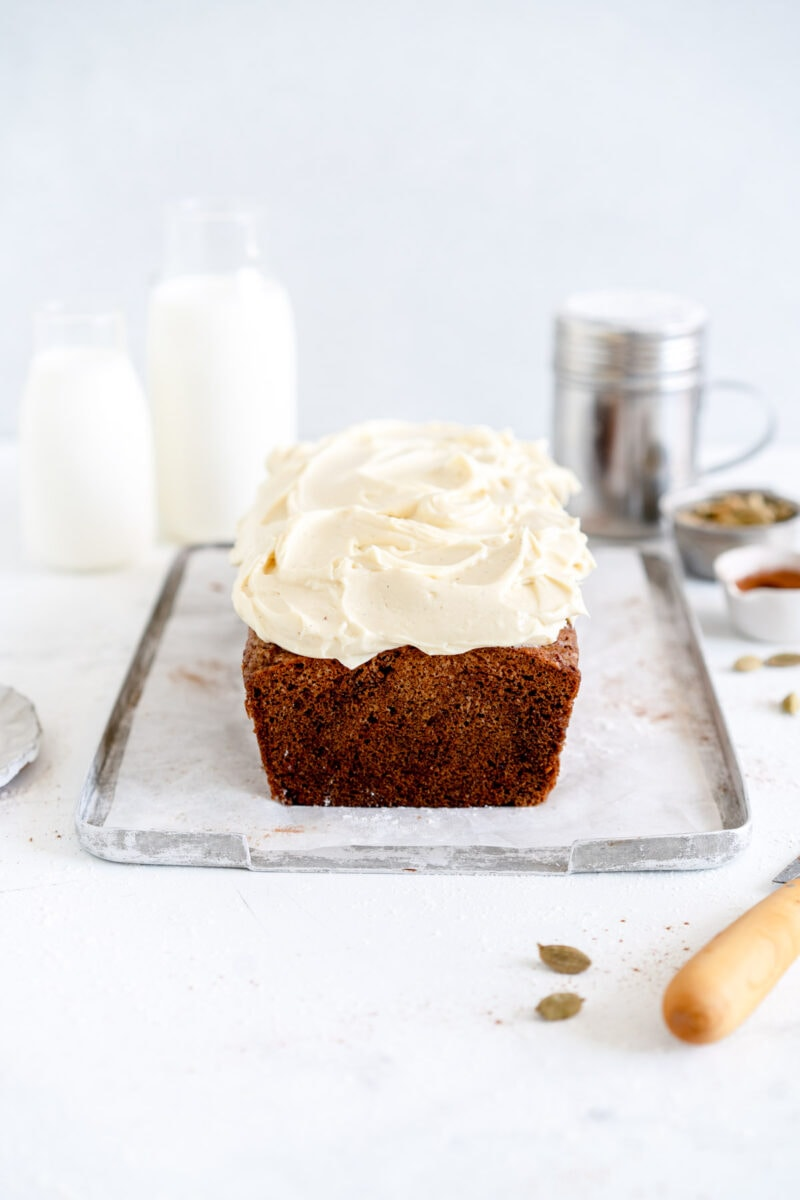 Carrot Loaf Cake with Maple Cream Cheese Frosting