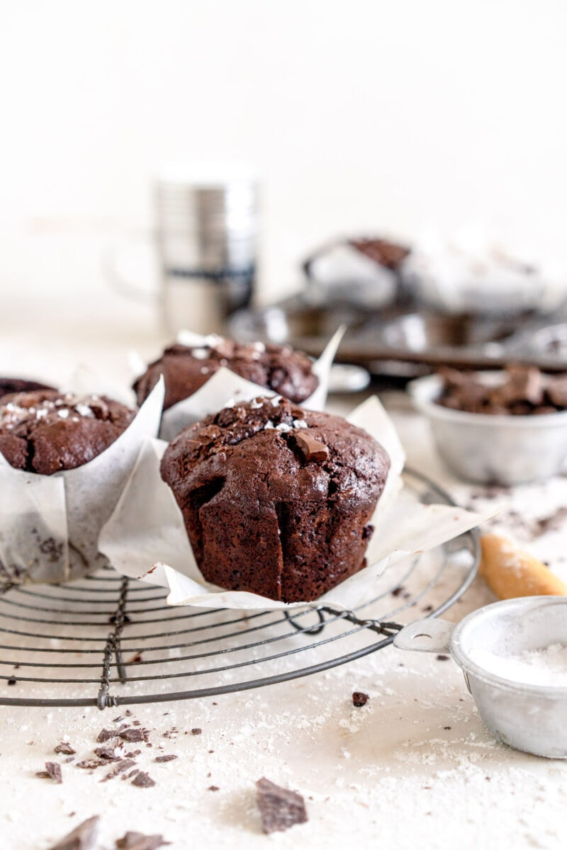 chocolate muffin on rack