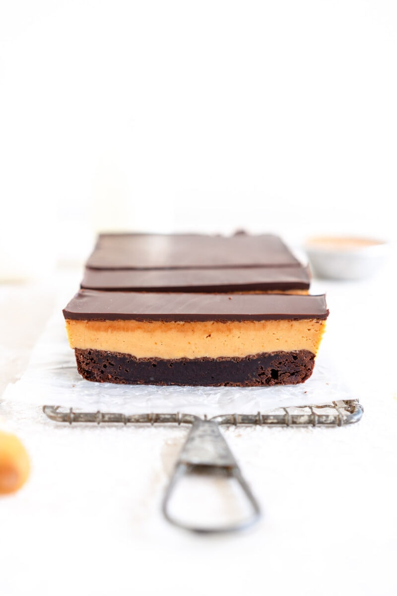 edge of peanut butter brownie bars