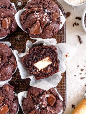 chocolate cream cheese muffin
