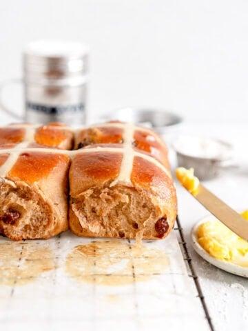 side on shot super soft hot cross buns