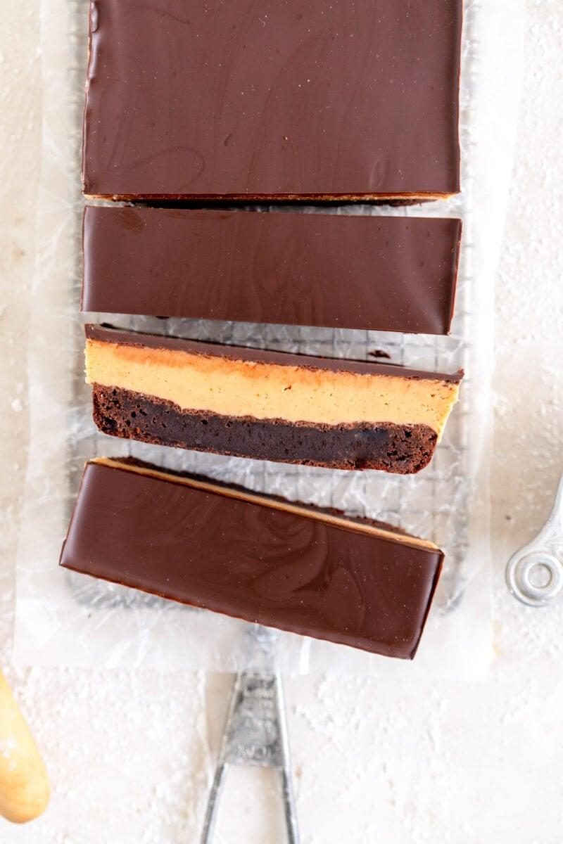 top down slice PB brownies