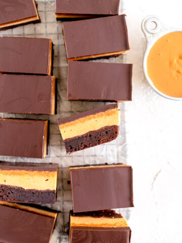 slice shot of peanut butter brownies