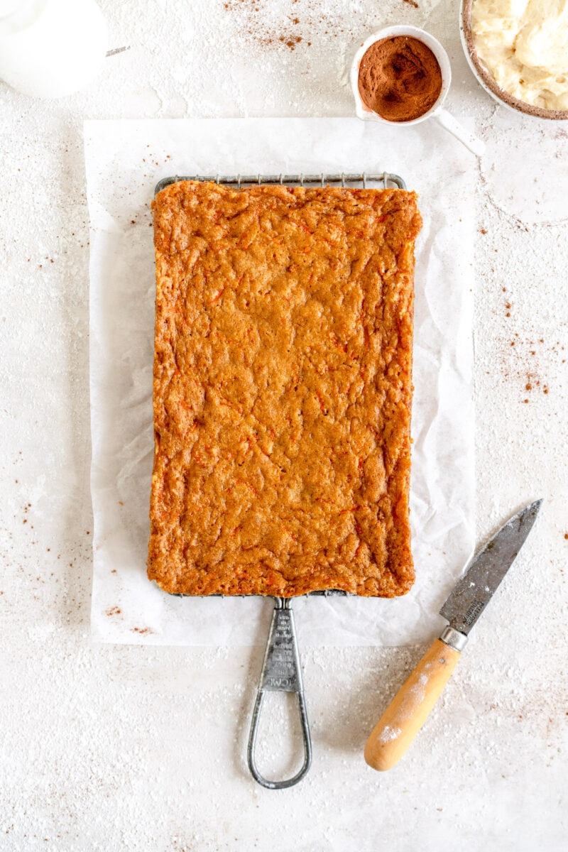 mini carrot cake ready to be frosted