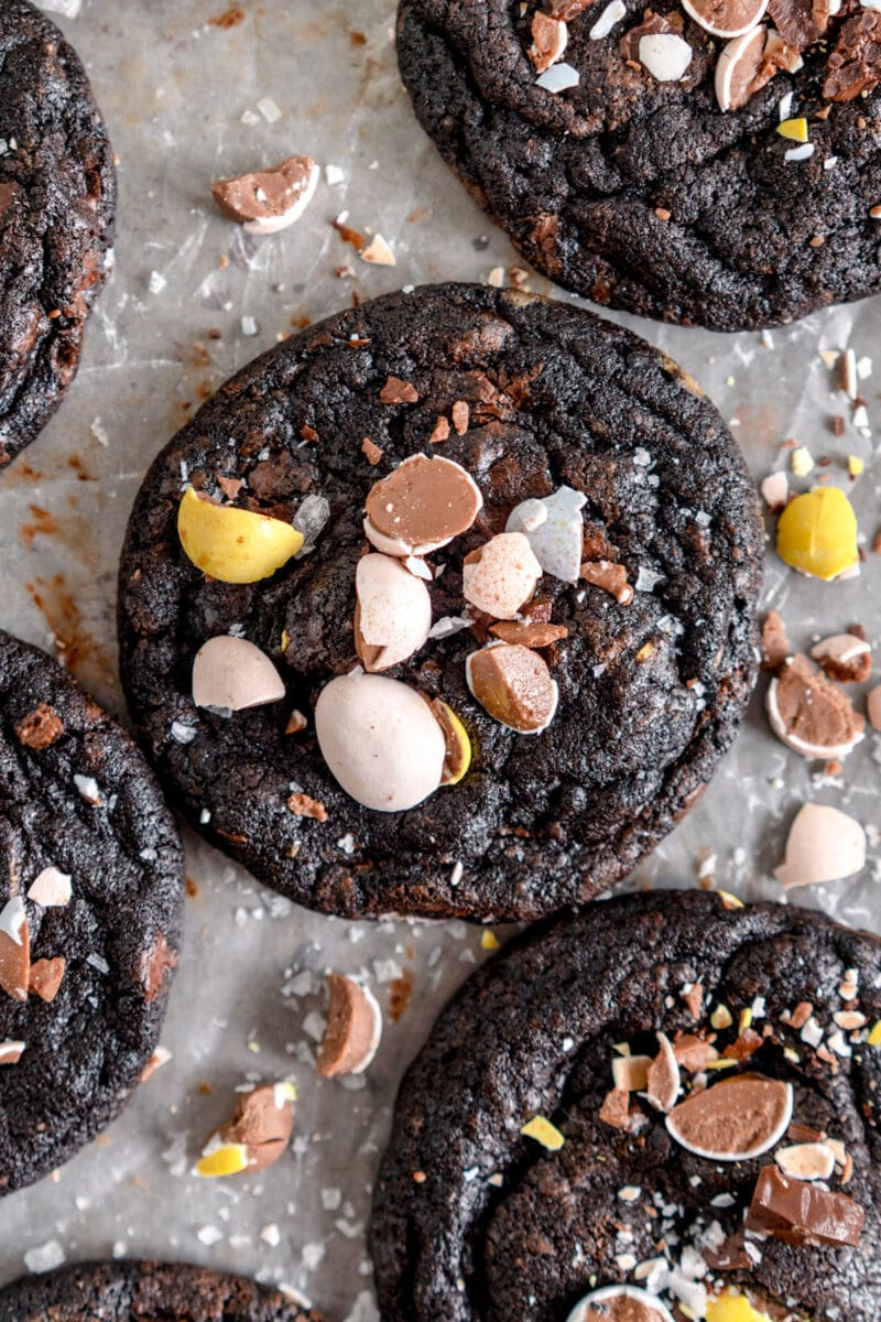 close up black cocoa nutella chocolate chip cookies