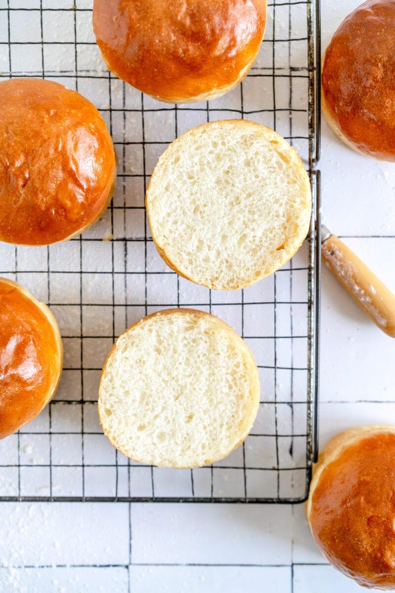 cut shot of burger bun