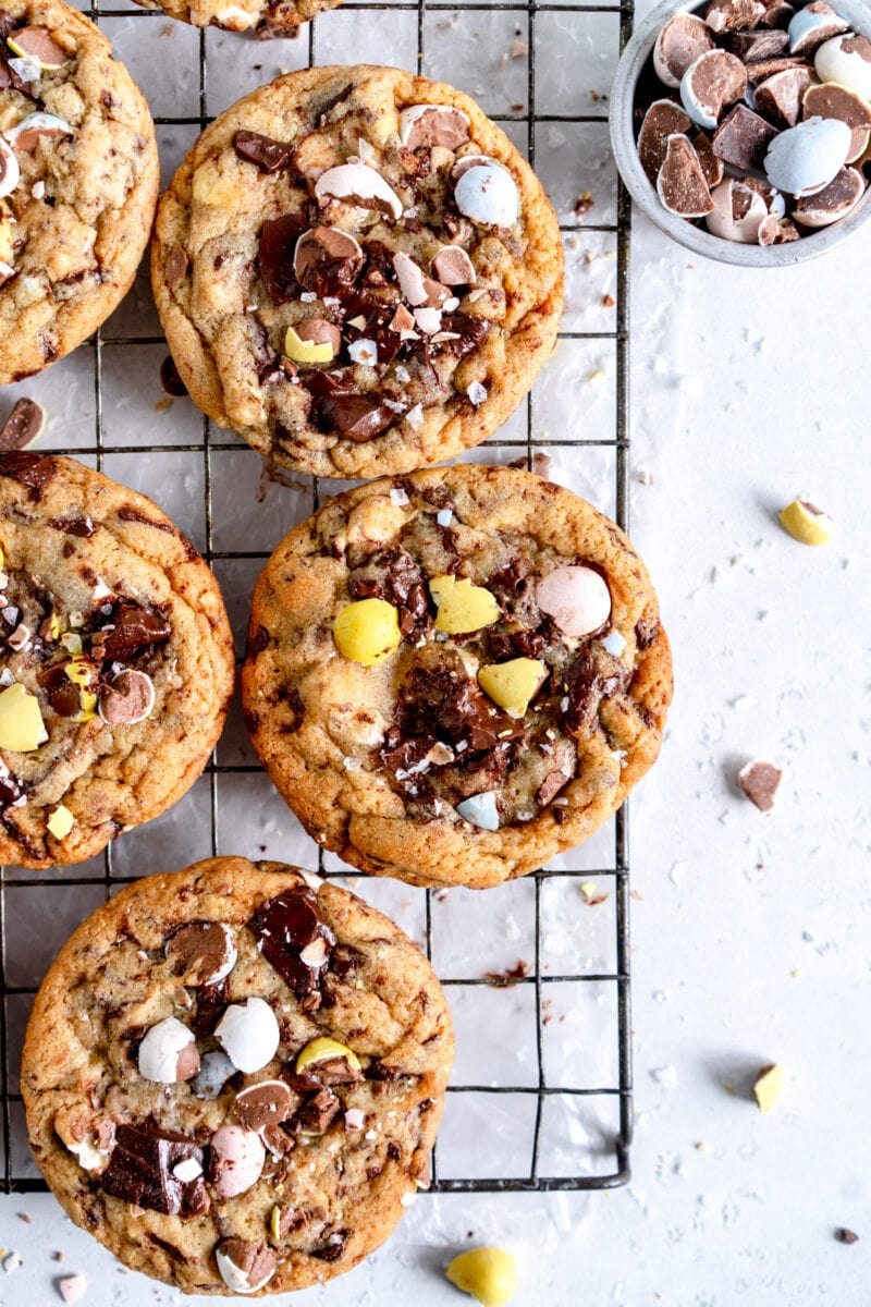 mini egg malted chocolate chip cookes