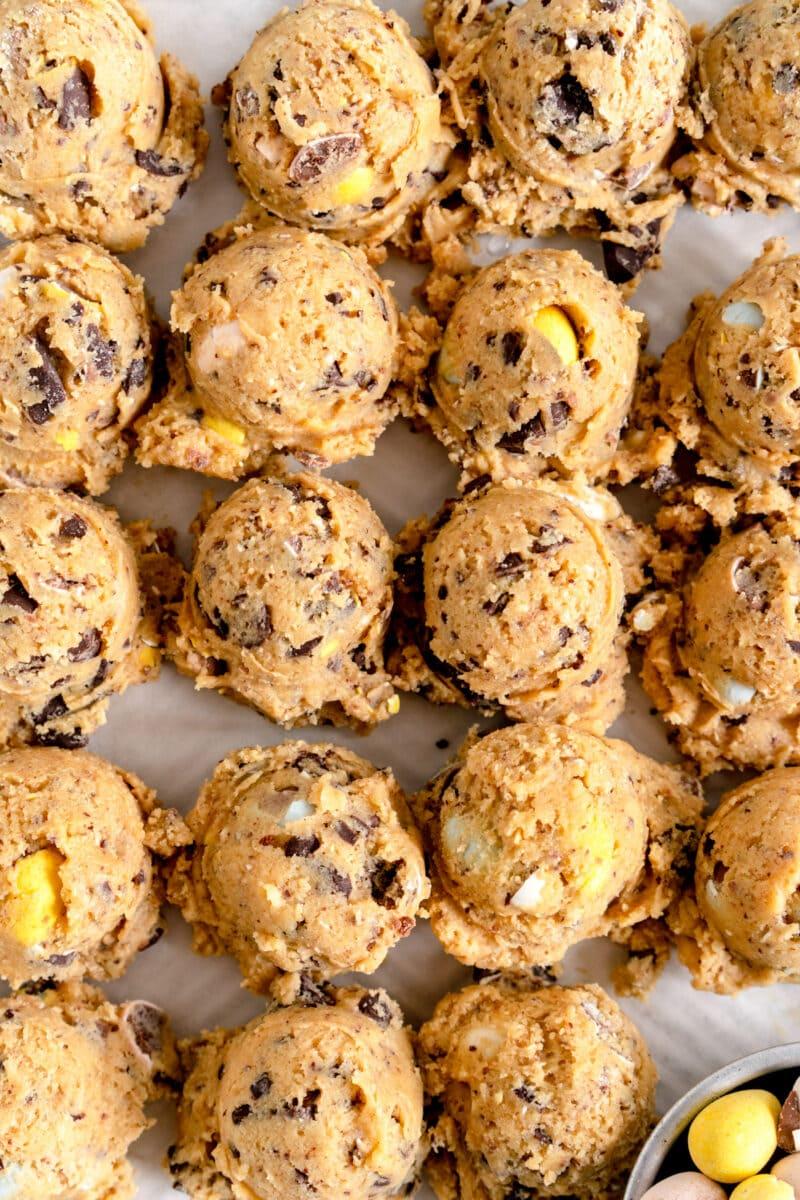 mini egg chocolate chip cookies