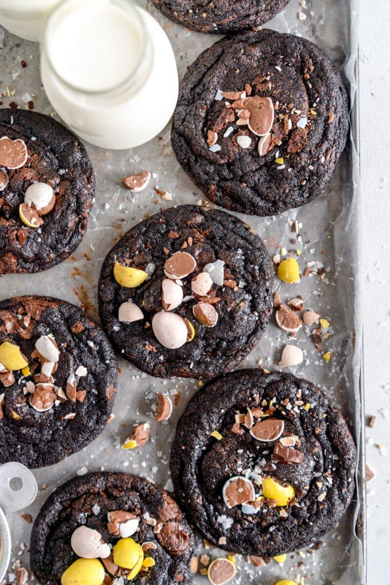 nutella mini egg chocolate chip cookies