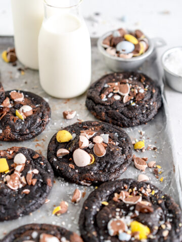 side on shot nutella chocolate chip cookies