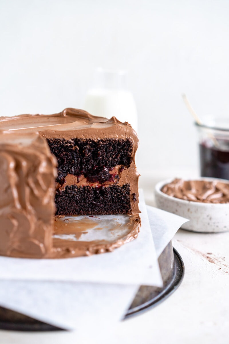 side shot chocolate cake