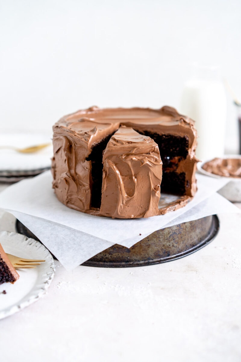 Chocolate Cake with slice taken out