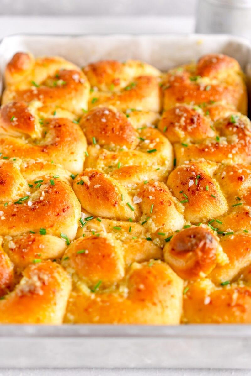 side on baked shot of garlic bread