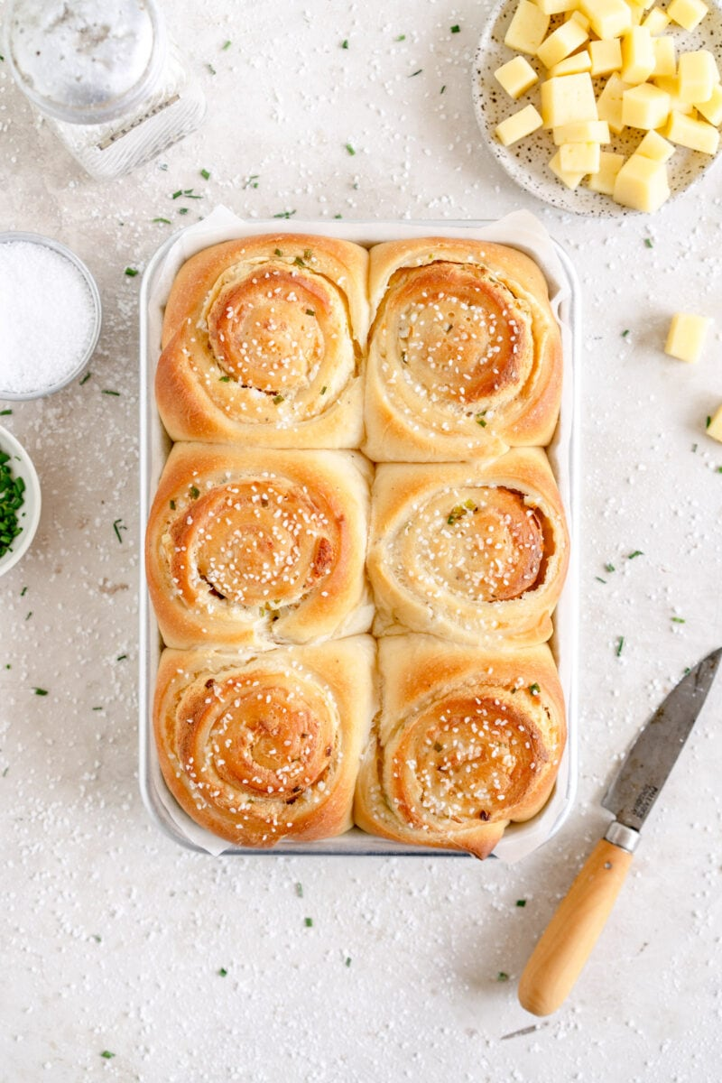 top down shot of small batch baked cheese buns