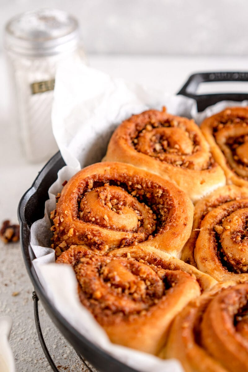 close up baked cinnamon roll