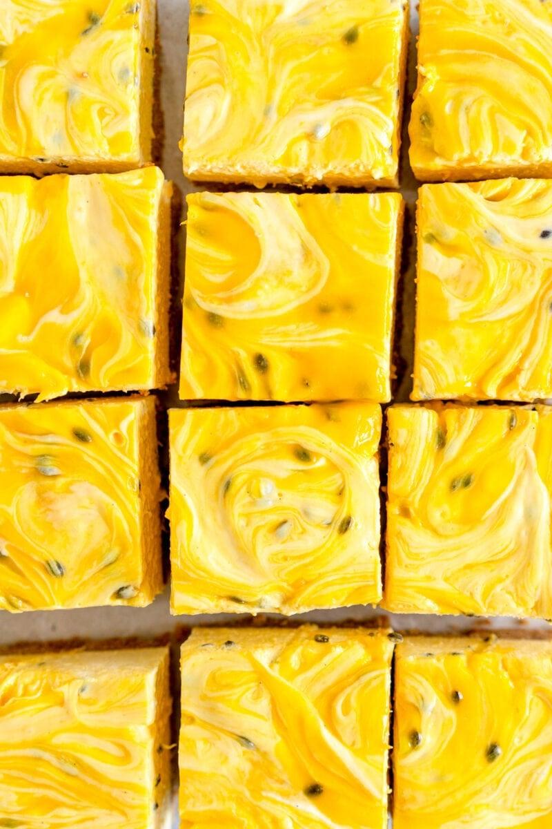 square cut shot cheesecake