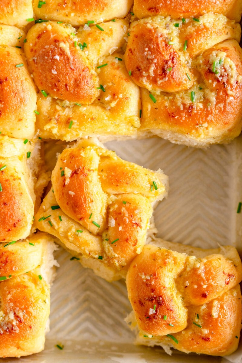 garlic knots in pan