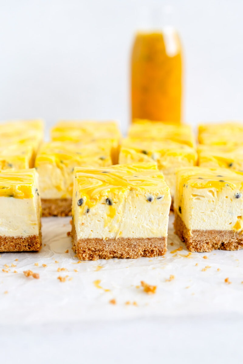 side shot cheesecake with passionfruit curd