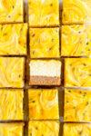 cut shot passionfruit cheesecake