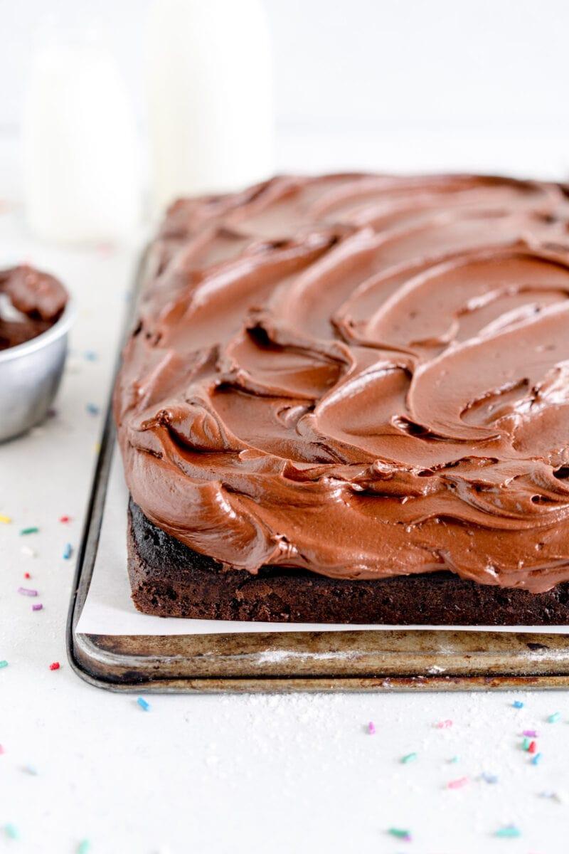 corner shot chocolate frosting on cake