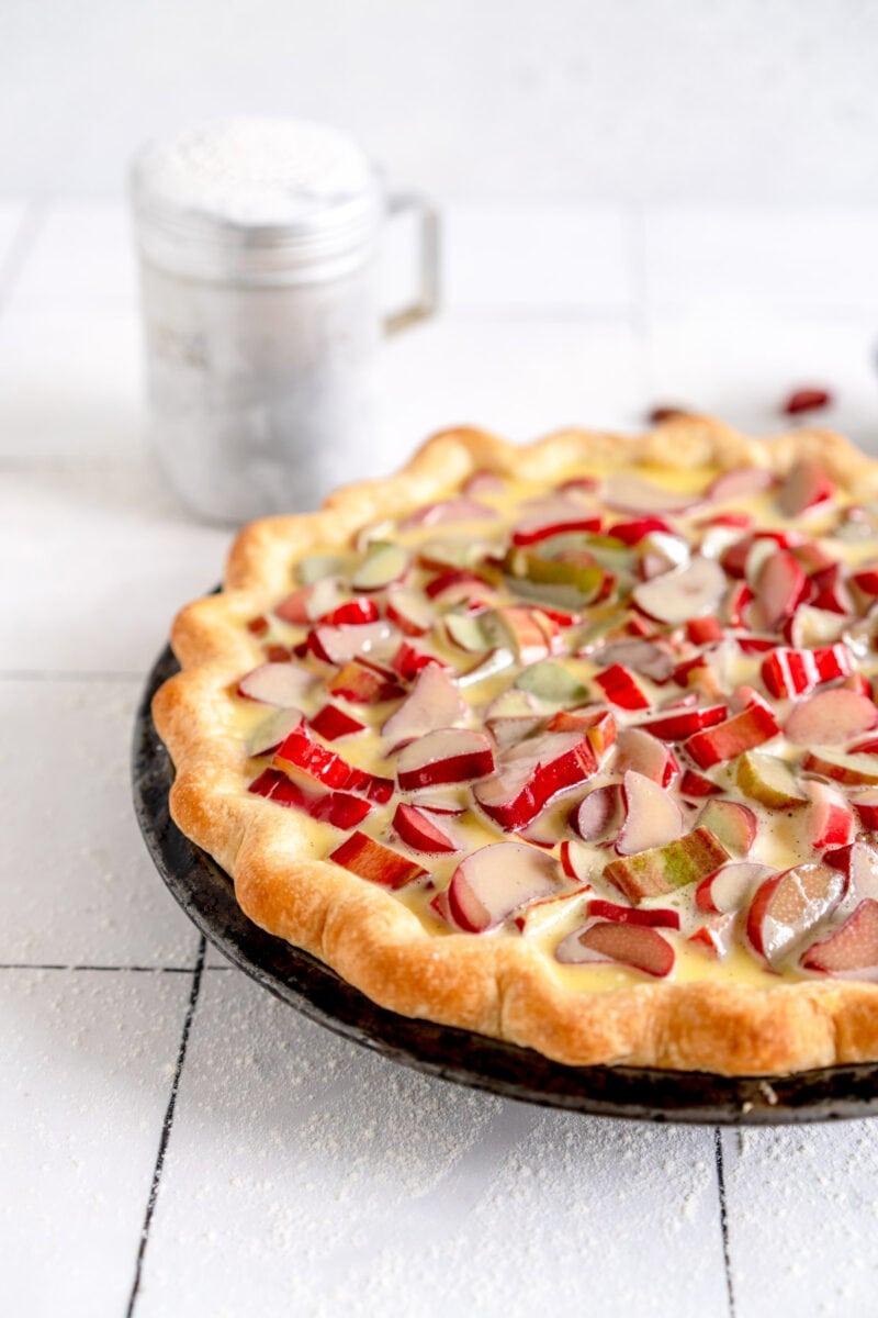 side shot rhubarb pie