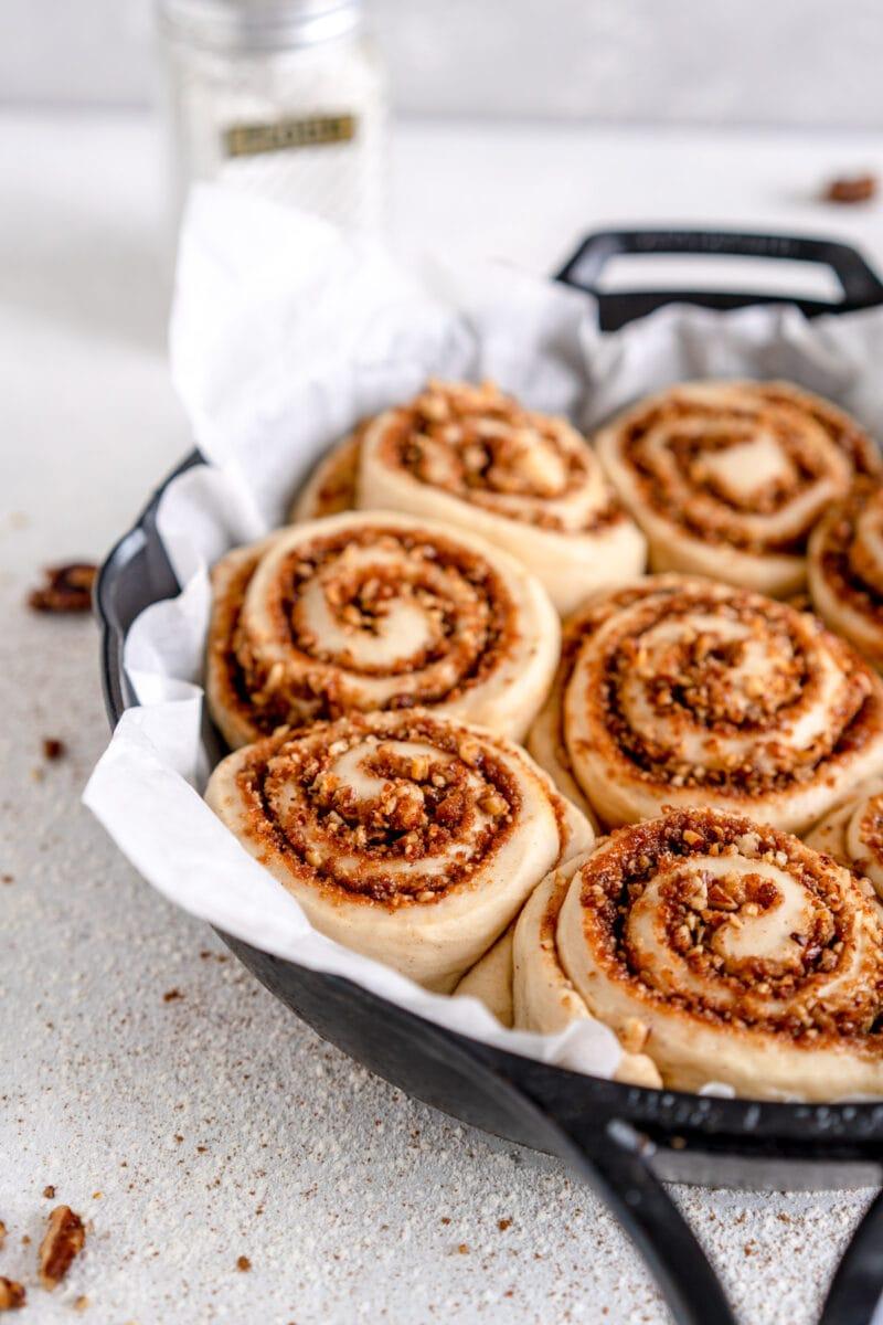side shot vegan cinnamon rolls