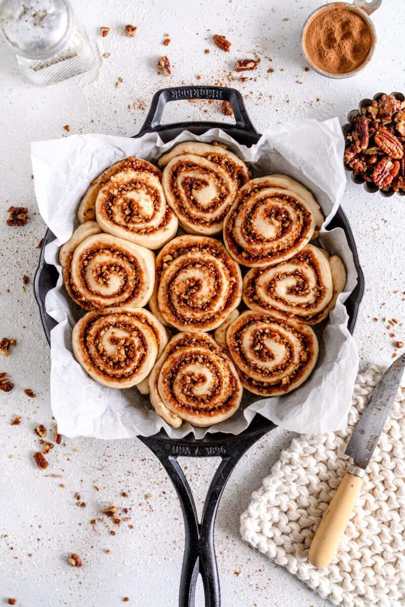 vegan cinnamon rolls ready for oven