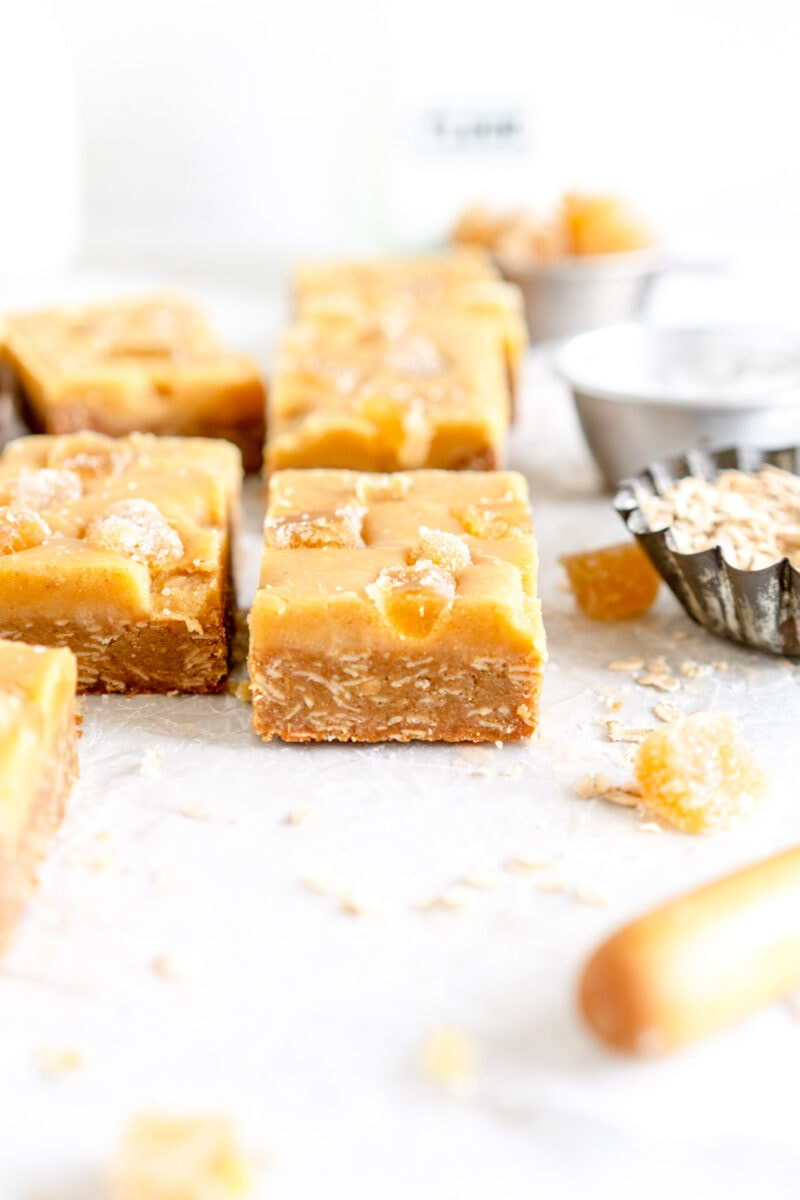 side on slice shot of ginger crunch