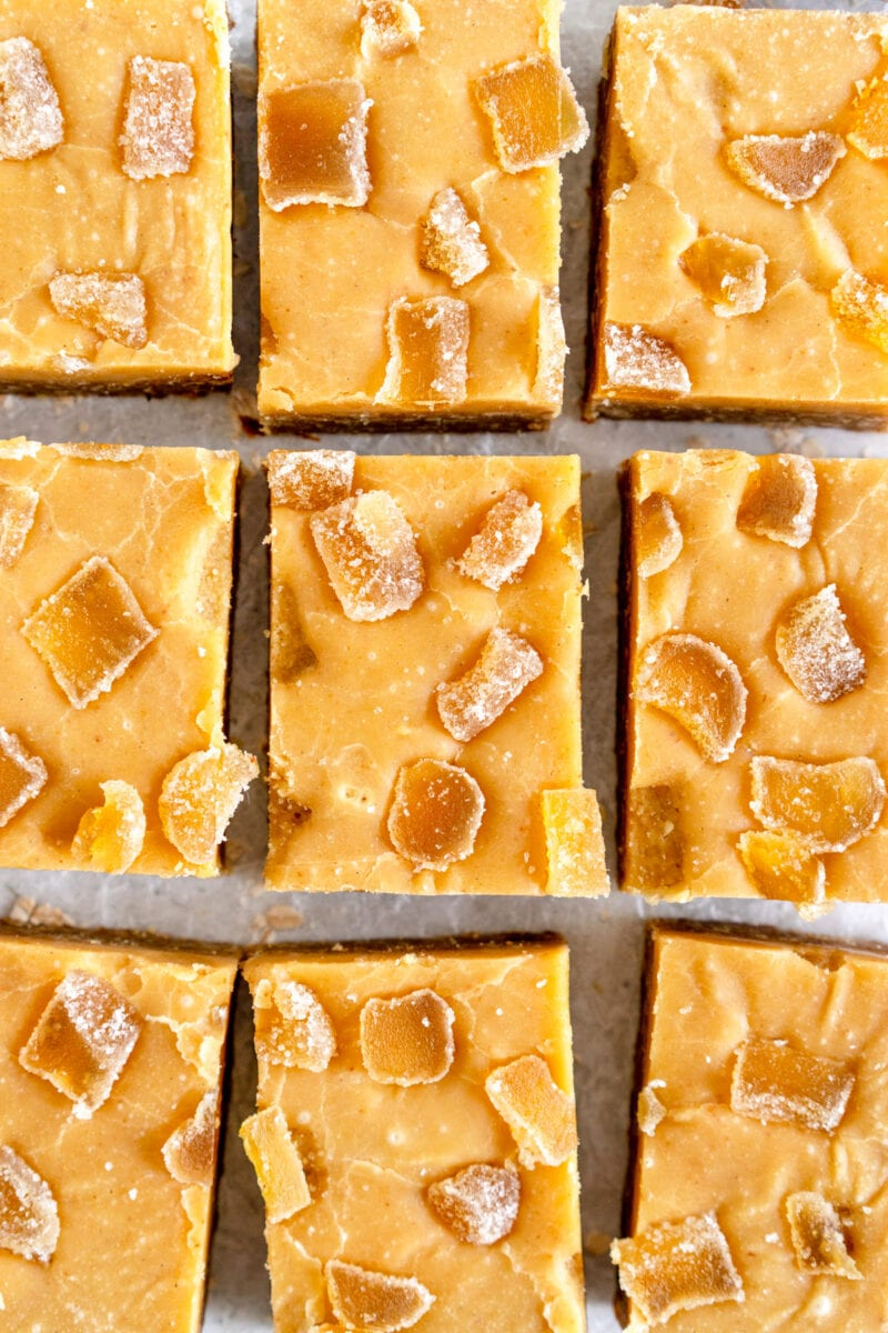 close up shot of ginger crunch with candied ginger topping