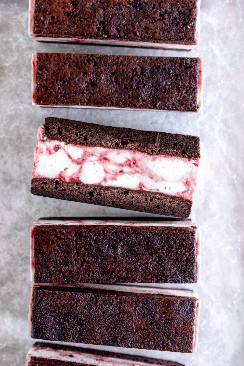top down image of brownie ice cream sandwiches