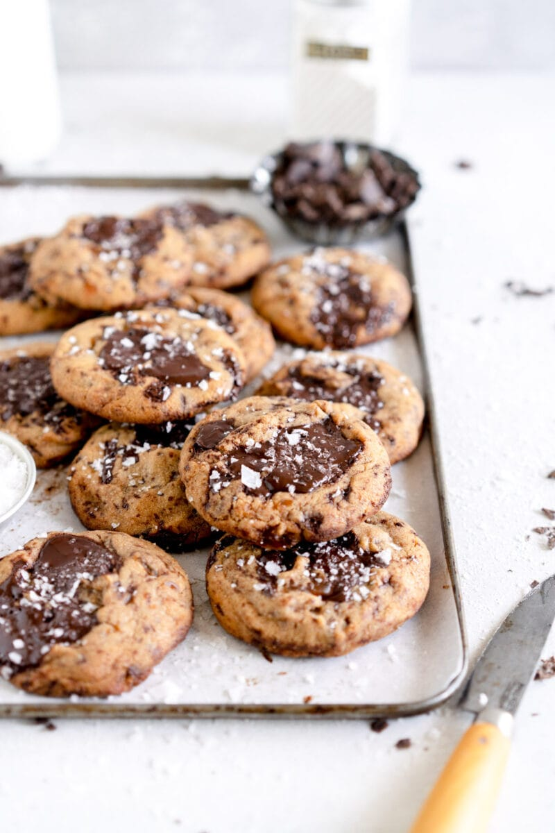 stacked angle shot of chocolate chip cookies