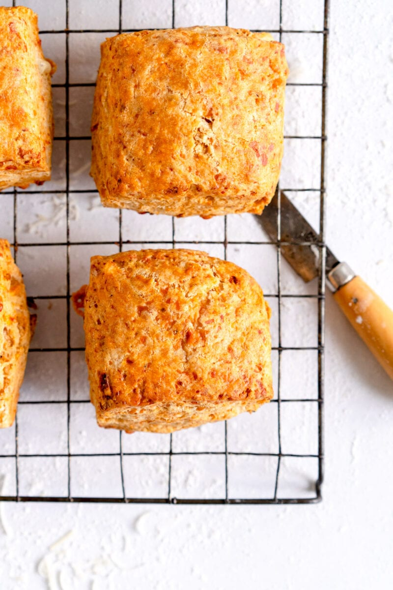 baked savory scone on wire rack