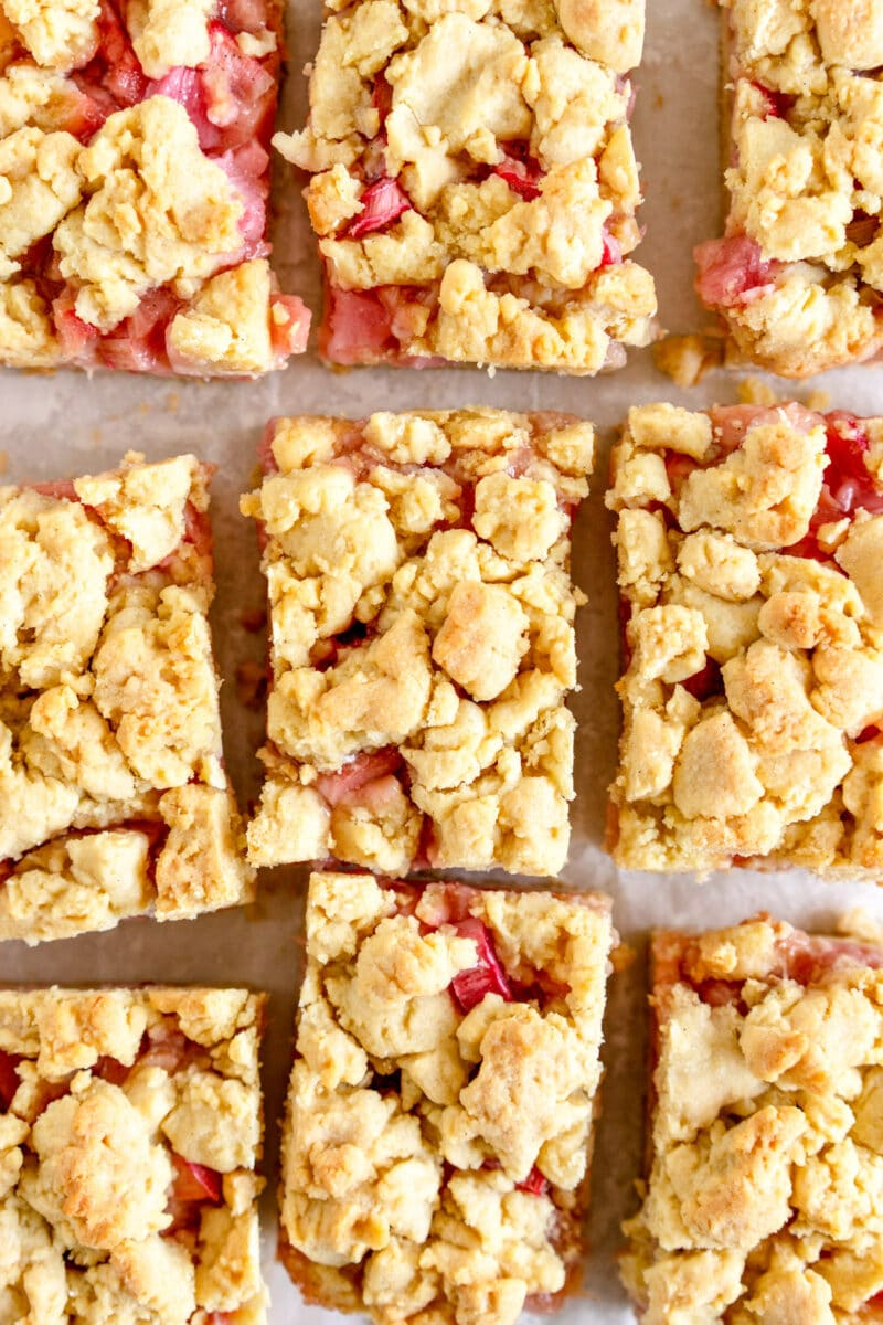 close up cut rhubarb shortcake bars