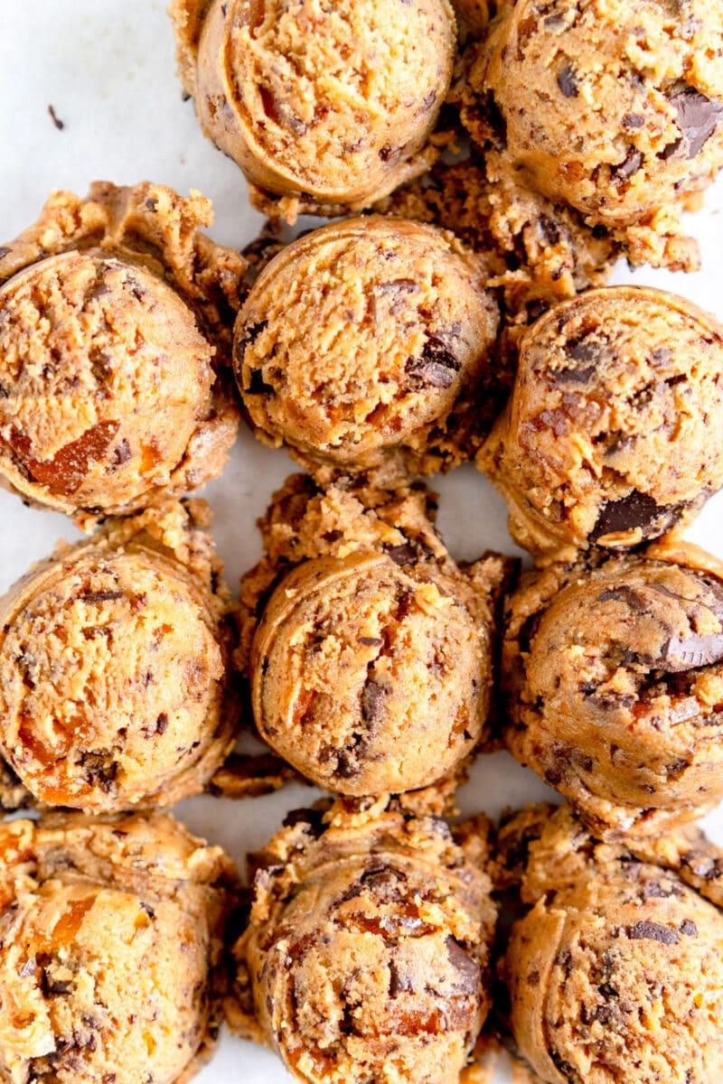 close up shot brown butter cookie dough