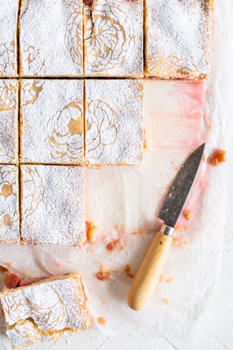 top down image of cut rhubarb shortcake bars