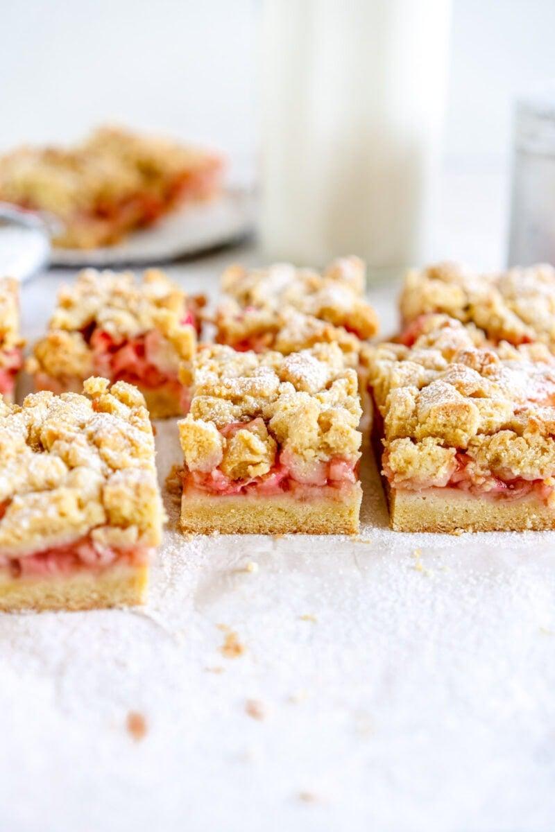 side shot rhubarb shortcake bars