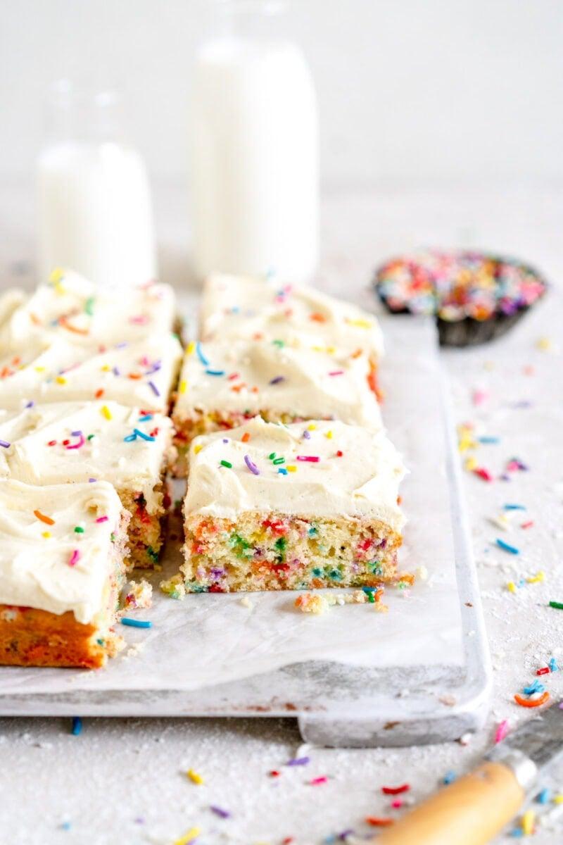 side shot of slice of cake